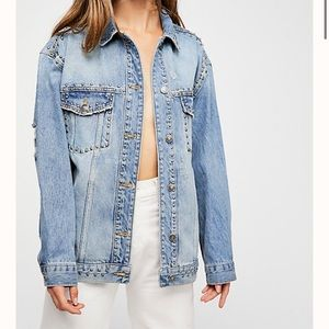 Free People Studded Denim Trucker Jacket